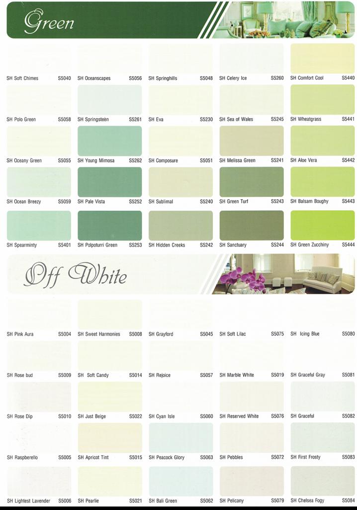 bảng màu sơn spec nội thất và ngoại thất